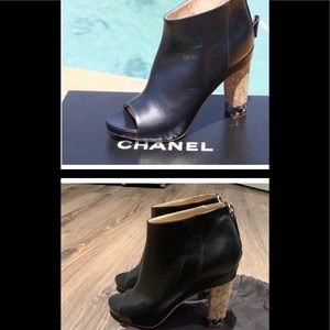 Authentic Chanel leather open toe black booties. Size 36.5
